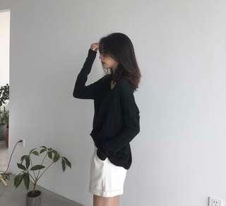 [NEW] Black Over-sized Knitted Top