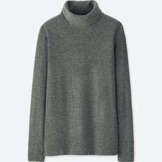Uniqlo WOMEN HEATTECH Fleece Turtle Neck Long Sleeve T-Shirt (Dark Gray)