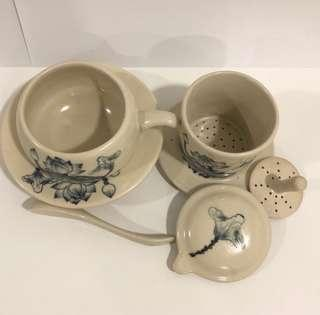 Handcrafted Vietnamese ceramic coffee dripper and cup saucer set