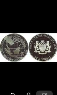 Ninth Southeast Asia Games 1977 25 ringgit coin