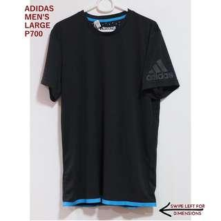 Adidas Men's Black Workout Top with Blue Trim