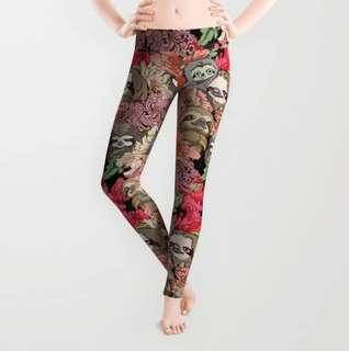🚚 Flowers Sloth Yoga Leggings Pants Tights - Workout Running Gym Fitness Pilates Training - Long Full Length Fit Fitting Girl Women Lady Girls Ladies Pro Combat Wear Camp Jogger Cute Flower Fat Sloths Animal Shy