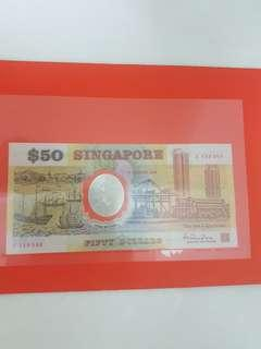 1990 Singapore 25th Anniversary $50 Commemorative Note A 133360 with Folder