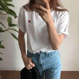 Rose embroidered white t shirt