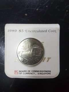 1989 Mass Rapid Transit $5 Uncirculated Vintage Coin