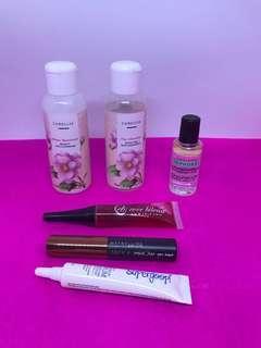EB Lip & Cheek Stain, Maybelline Tattoo brow gel tint (medium brown), sunscreen, moisturizer, cleansing water