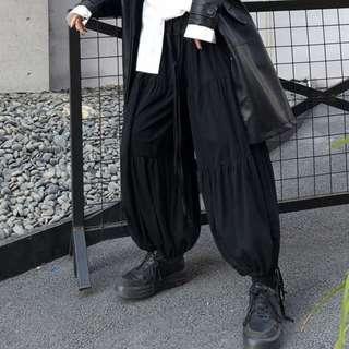 【黑店】原創設計 訂製款寬鬆燈籠褲 暗黑系圓弧形哈倫褲 顯瘦寬褲縮口褲 抽繩哈倫褲燈籠褲 DD120