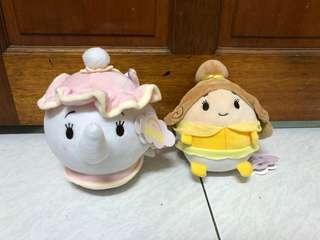 🚚 迪士尼Disney 美女與野獸 茶葆太太 茶壺太太 美女貝兒 18cm香氛 雲朵 ufufy 球形圓形娃娃