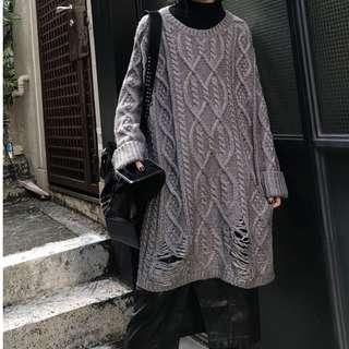 【黑店】訂製款超寬鬆慵懶割破針織毛衣 oversize長版寬鬆保暖針織毛衣 男友風寬鬆針織上衣 粗針織保暖毛衣DD123