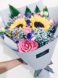 🚚 2s sunflower rose bouquet