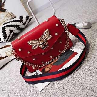 Butterfly Leather Sling Bag