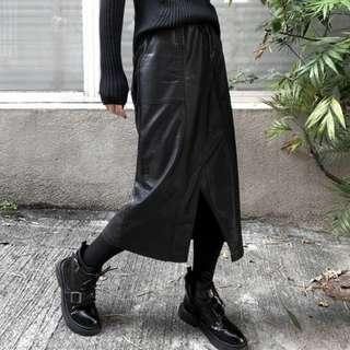 【黑店】原創設計 個性抽繩開衩皮裙 暗黑系穿搭個性皮質中長裙 百搭中長裙抽繩長裙 個性穿搭過膝裙DD125