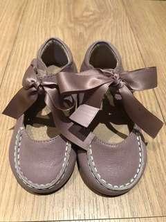 🚚 藕紫色羊皮赫本緞帶皮鞋