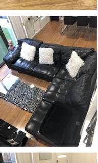 Black genuine leather L-shape lounge