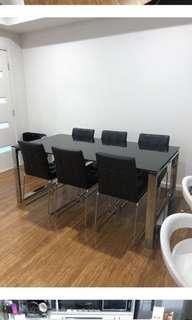 Fantastic Furniture Black tempered glass dining table
