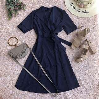 Blue overlap midi dress