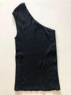 One shoulder black top
