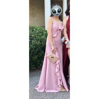 RENT / HIRE Blush Ruffle Lace Up Maxi Formal Dress