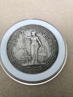 British trade dollar $1 1907B  rare condition