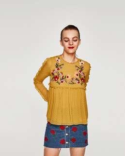 ZARA TRAFULUC Babydoll Embroidered Top