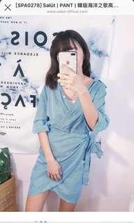 韓版 高腰顯瘦綁帶洋裝 /F
