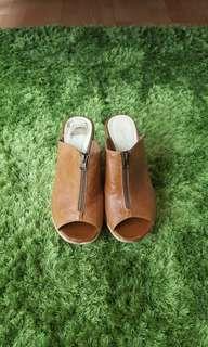 Brown Leather Peep Toe Wedge