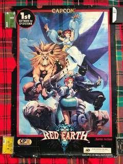 Very Rare Vintage 1996 Red Earth@Warzard Capcom Retro Game Big Poster