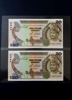 🇲🇾 Malaysia 5th Series RM20 Banknote~First Prefix TA 2pcs Consecutive Number Pair