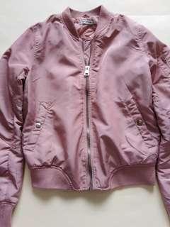 STRADIVARIUS Old Rose Pink Bomber Jacket