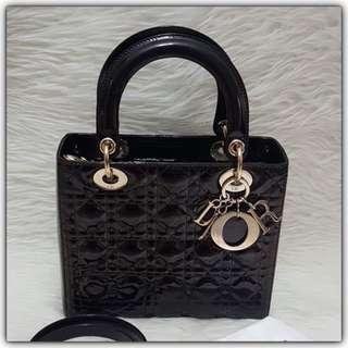 Lady Dior Black Patent RosegoldHW Medium 2011