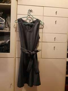 **Grey Stripe Dress w Sash