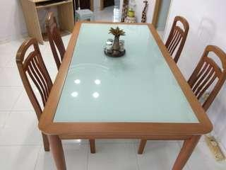 Dinning table with chairs.  Solid wood &  Tempered glass