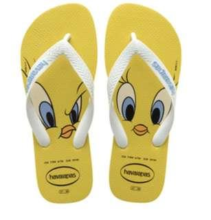 🚚 LOONEY TUNES TWEETY FLIP FLOPS CITRUS YELLOW