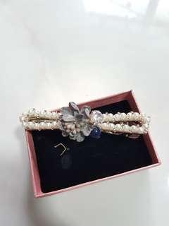 *New* Flower Crystal Pearl hair clip