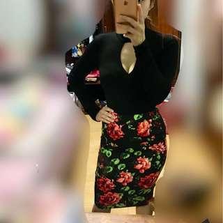 ♥️ Missguided floral midi skirt