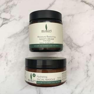 Sukin Night Cream & Mask Set