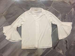 White bell sleeve blouse
