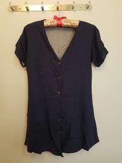 Polka Dots Navy Blue V neck Dress