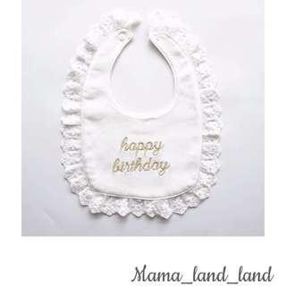 """<Best gift 🎁 > lovely newborn """"Happy Birthday """" embroidered cotton baby bibs"""