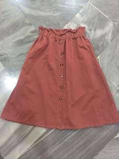 Brick red midi skirt