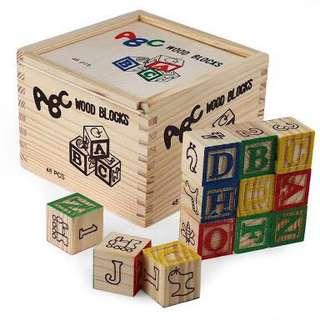 ABC Wood Blocks with wooden box
