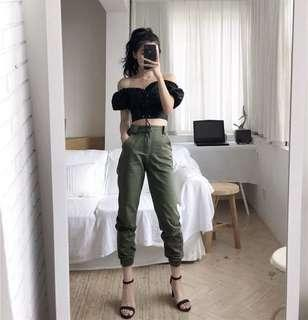 Chic High Waisted Army Green Pants