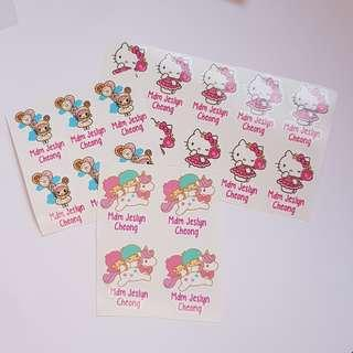 Character name sticker label or iron on label