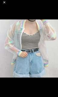 Holographic Rainbow Holo Bomber Jacket