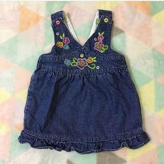 BENETTON Denim Embroidered Pinafore Dress
