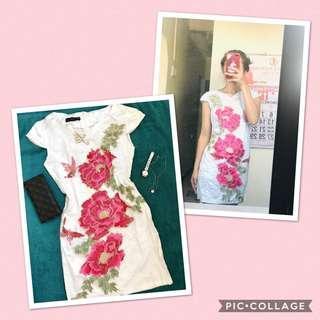 Korean Floral embroidered dress