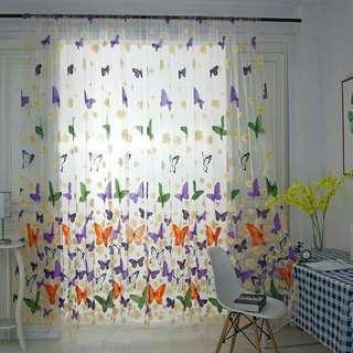 Hot butterfly sheer curtain  wall door window balcony