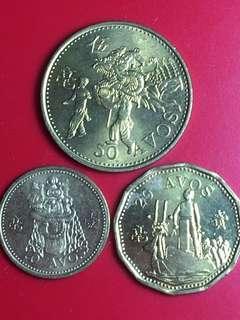 1993年澳門輔幣三枚,一、二、伍毫,全新BU