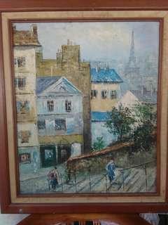 Vintage rare oil painting on canvas..paris town view.. unique