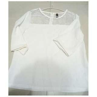 ♥韓系拼接格紋透膚網紗上衣-白 五分袖 七分袖